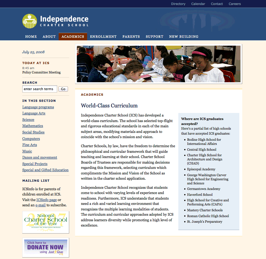Independence Charter School revamps website (pro bono)